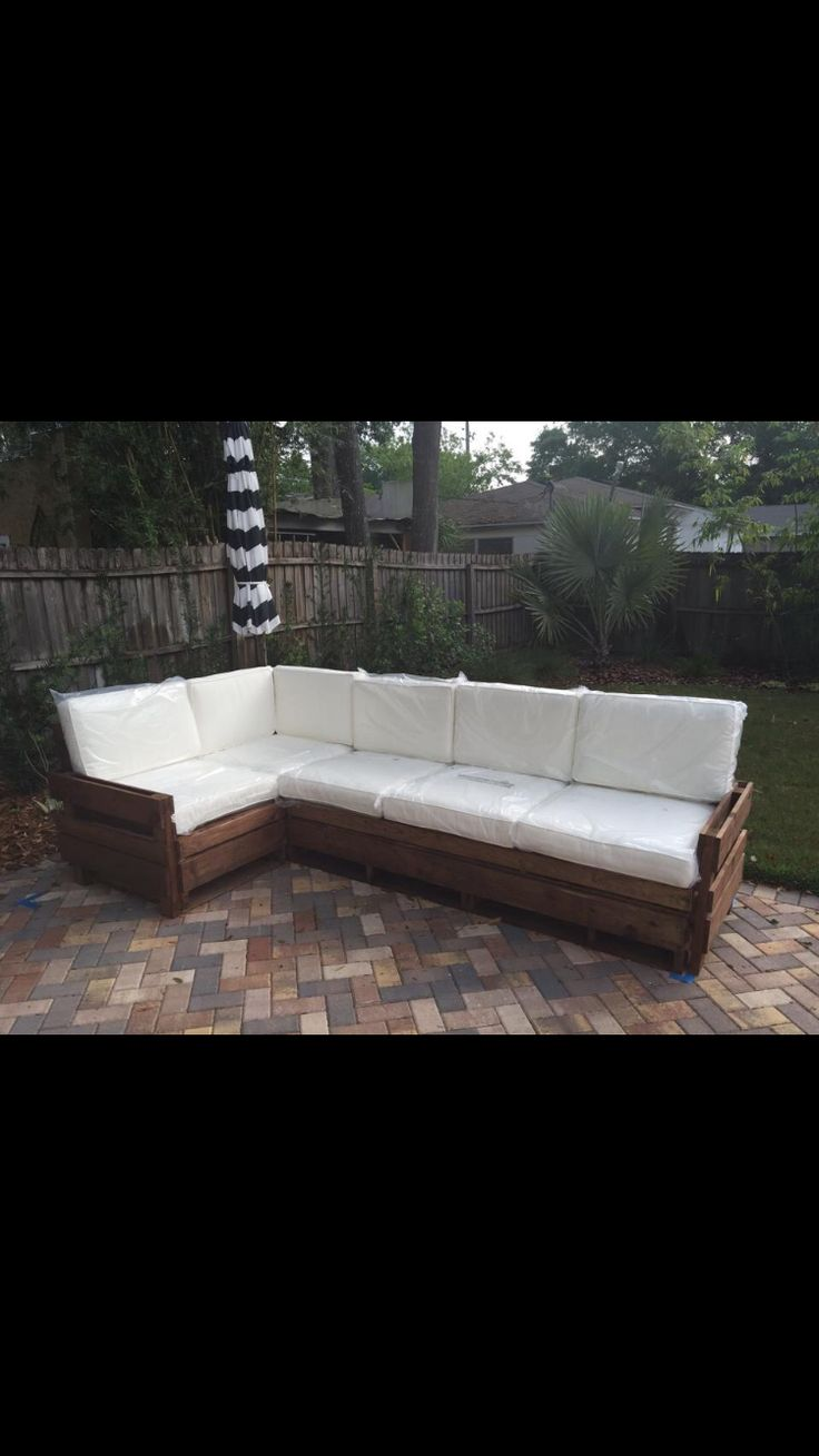 Dabney corner shaker double vanity distressed vinish - Custom Outdoor Sectional Stained In Early American Cushions From Pottery Barn