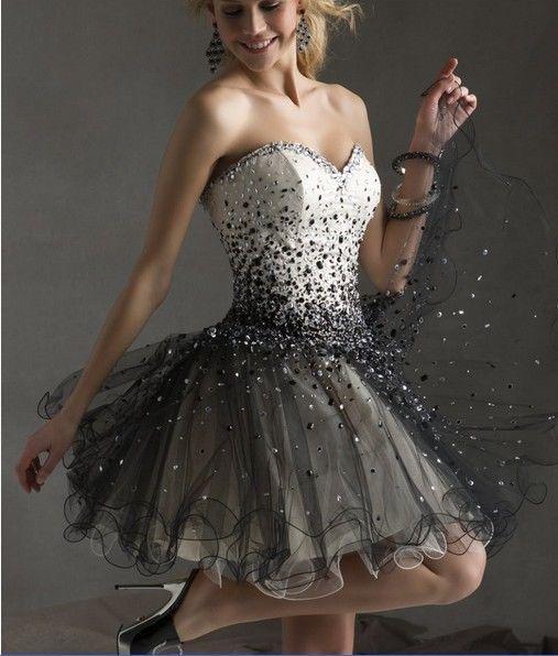 sexy weiß/schwarzer kurze Abendkleid Ballkleid Cocktailkleid Brautkleid