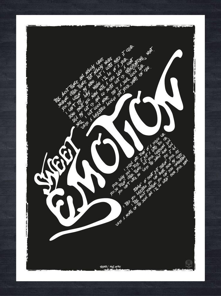 Aerosmith Sweet Emotion song lyrics A3 print. Created in Adobe Illustrator vector artwork.