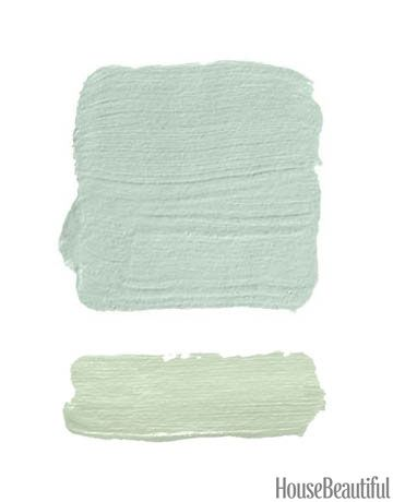 Washed-out blue walls, surrounded by the most heavenly shade of green for the trim.