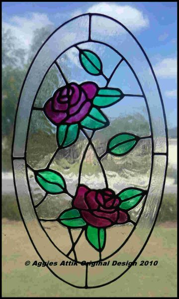 2 Climbing Roses Window Cling Stained Glass Look Faux