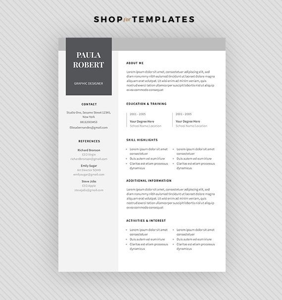 ▶ P R O M O C O D E : 2 items for 19$ USD, use code BUY2ITEMS ▶ B U N D L E $450 worth of resume templates for $45! https://www.etsy.com/listing/449365810 ▬▬▬▬▬▬▬▬▬▬▬▬▬▬▬▬▬▬▬▬▬▬▬ Welcome to The Good Dept! We know—writing and editing the perfect resume is enough of a challenge. Why should you have to spend your time and energy making it look great, too? We create a professional resume template that help you impress more hiring managers and land more interviews. This minim...