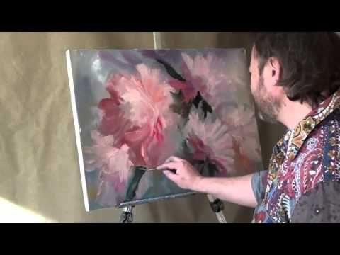 .Dibujar las peonías La única técnica.Igor Sájarov.Clases de pintura. - YouTube