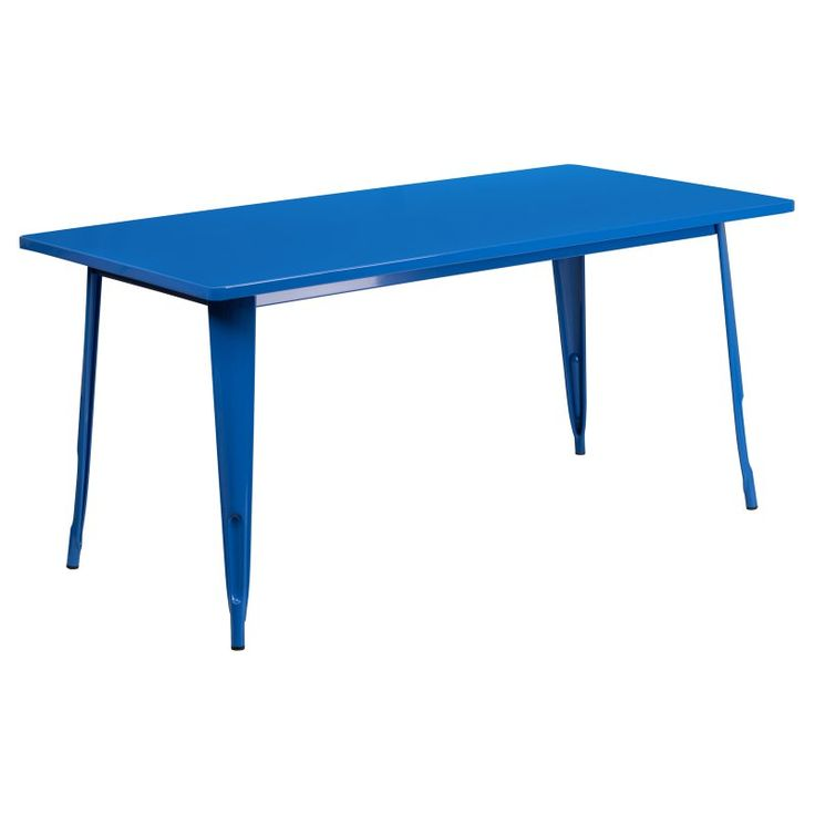 Flash Furniture 31.5 x 63 in. Rectangular Metal Indoor-Outdoor Table Blue - ET-CT005-BL-GG