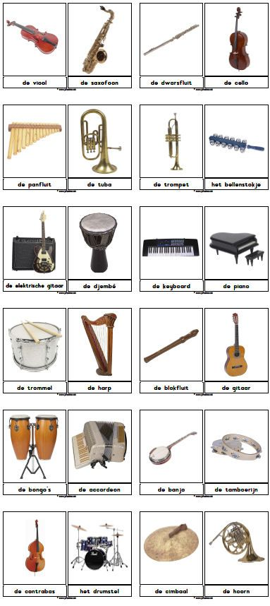 Woordkaarten muziek