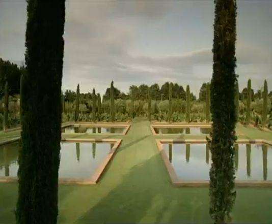 reflecting pools in the garden by Ferdinand Carucho called 'Mas de les Voltes' in Castel del Ampurdan, Catalonia, Spain.