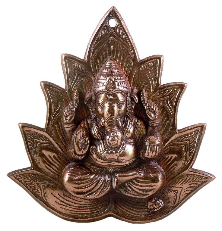 Ganesha on Lotus - Wall Hanging (Black Metal)