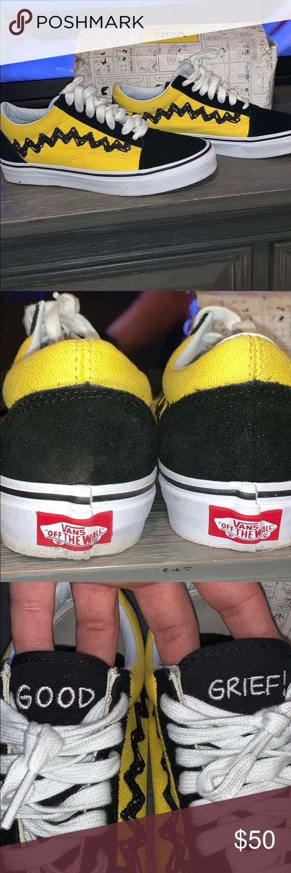 Peanuts Old school Vans Boys sz 5 – Women's sz 6.5 Charlie Brown/ Black old sc… –  – #Genel