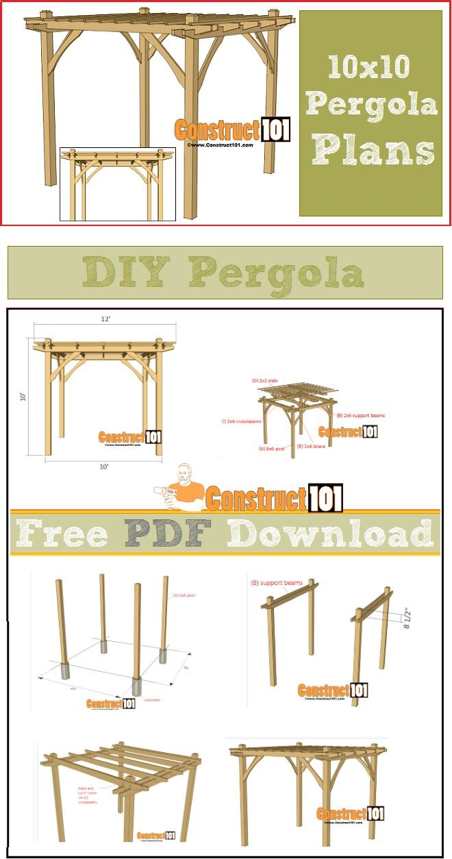 Pergola plans - DIY 10x10 pergola, free PDF download. Plans include step-by-step details, cutting list, and shopping list.