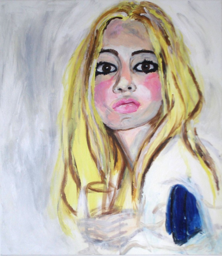 Kate Moss by Stella Vine, Holy water cannot help you now, Acrylic on canvas, 2005 (Bloomsbury studio)