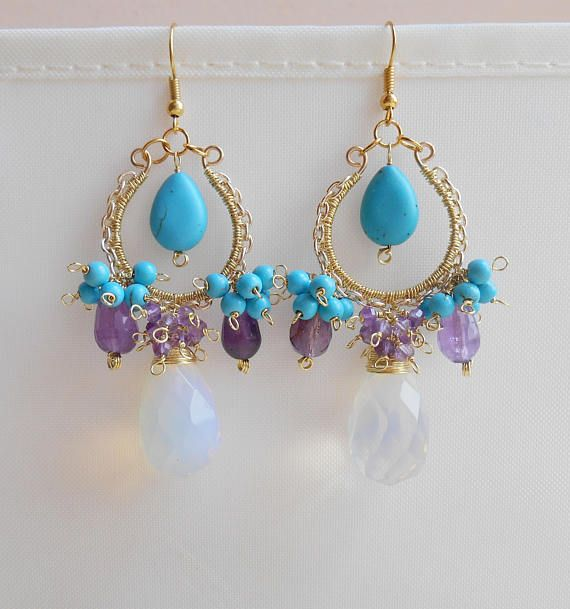 Amethyst opal howlite gemstone chandelier earrings purple &
