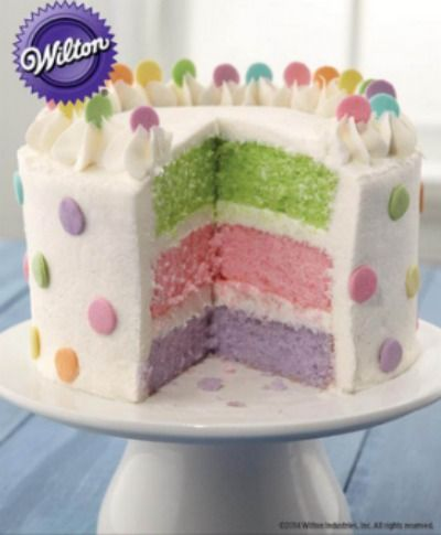 Learn how to make this creative triple color layer cake for any birthday party or add peeps for Easter.