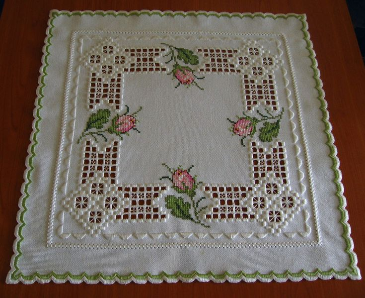 beautiful Hardanger embroidered tablecloth * ROSE BUDS* - NEW & 100 % handmade