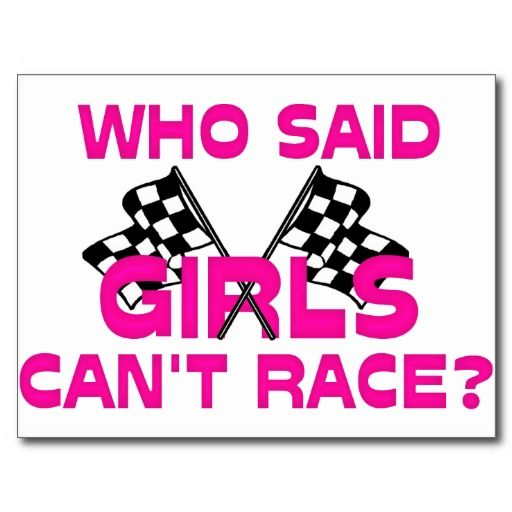 Girly Pink Race Car with Checkered Flag Postcard   Cars/Racing