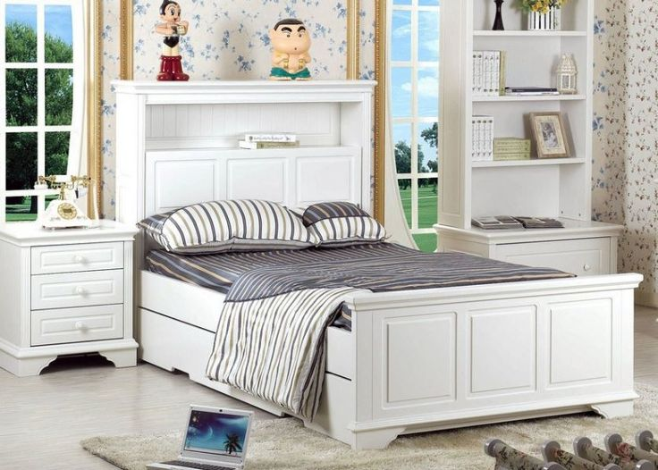 KING SINGLE MACKENZIE (LS-031) (MODEL 13-15-26-1-18-20) BED EXCLUDING UNDERBED TRUNDLE - IVORY WHITE