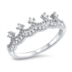 Sterling Silver CZ Crown Ring Cubic Zirconia stones set in Sterling Silver. Simple crown with stones across the top band. Ring face measures 6mm.