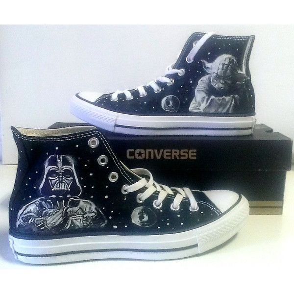 Star Wars Yoda Vader Fanart Painted Converse All Star Hi Tops M+W+Y... (£89) ❤ liked on Polyvore featuring shoes, sneakers, high top sneakers, converse high tops, converse trainers, black hi top sneakers and black high tops
