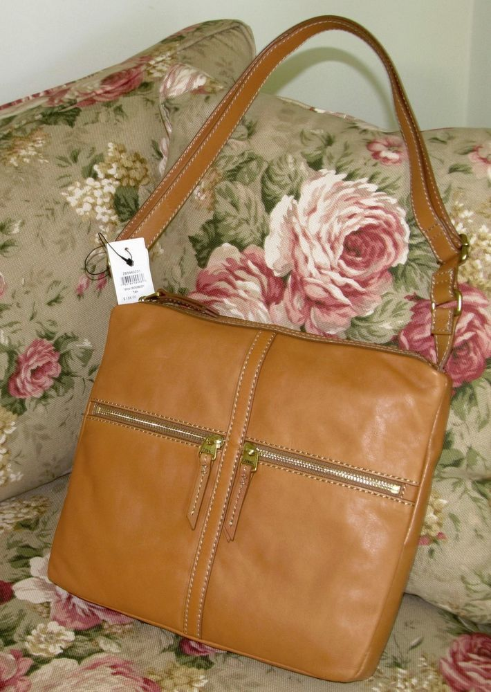 FOSSIL Tan Leather ERIN Top Zip Cross Body / Shoulder Handbag Bag NEW with TAG  #Fossil #MessengerCrossBody