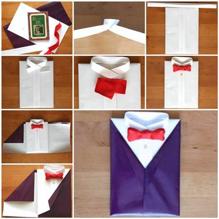 DIY Gift Wrapping Like a Suit and Tie | iCreativeIdeas.com LIKE Us on Facebook ==> https://www.facebook.com/icreativeideas
