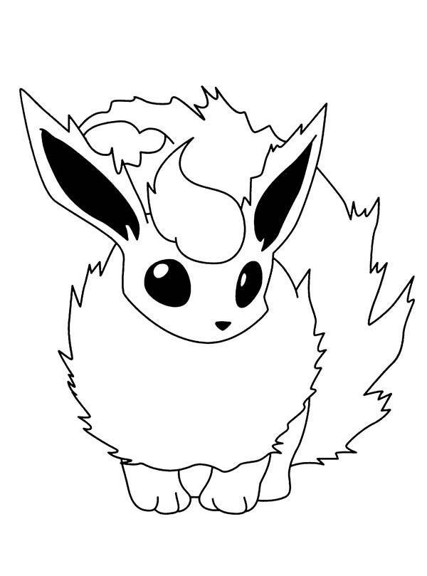 Pokemon, Fire Pokemon Flareon Coloring Pages: Fire Pokemon