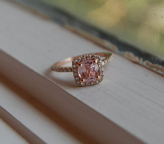 Beautiful!  175ct Cushion peach champagne sapphire in 14k by EidelPrecious, $1800.00