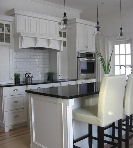 Kitchens With White Cabinets And Black Granite: Thomasville Kenston Cabinets White Dark Countertop