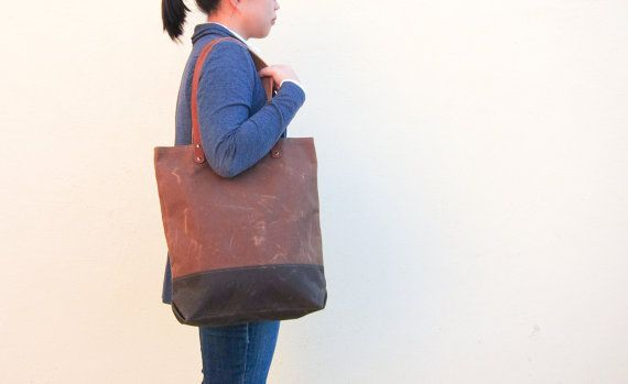 Summer Tote Bag No.1  Cinnamon Brown Waxed Canvas with by buluchu, $85.00