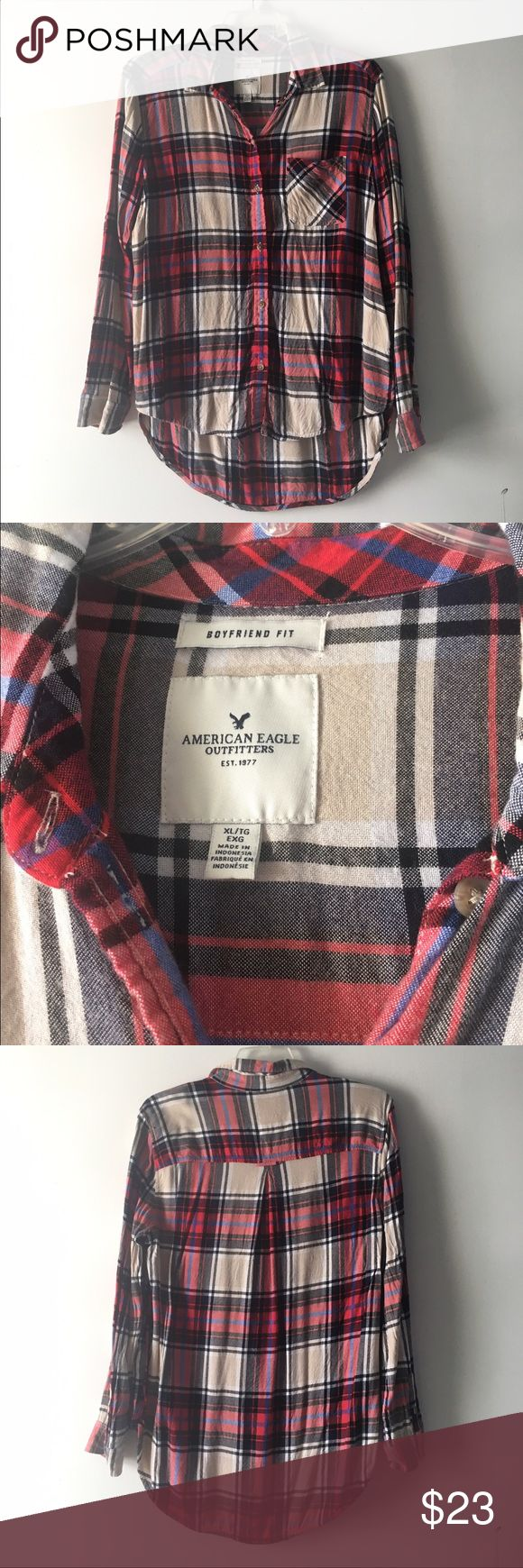 ⭐American Eagle Plaid Flannel Boyfriend fit. Longer in back. Worn about 5 times.  CAN ONLY BE BUNDLED WITH OTHER ITEMS THAT HAVE A ⭐️ IN THE TITLE DUE TO ITEMS CURRENT SHIPPING LOCATION. American Eagle Outfitters Tops Button Down Shirts