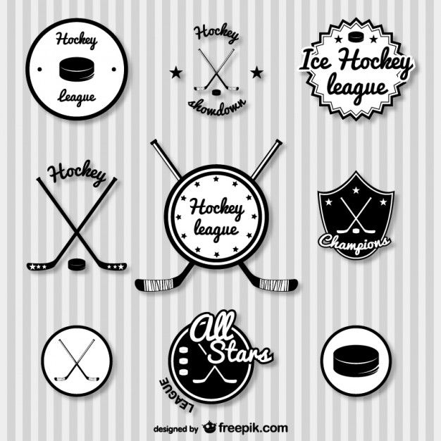 Hockey retro badges set, free for download:
