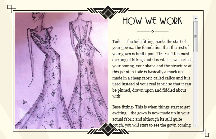 Toile – The toile fitting marks the start of your gown… the foundation that the rest of your gown is built upon.  Click Here For More Information http://hcbridal.co.uk/our-work/