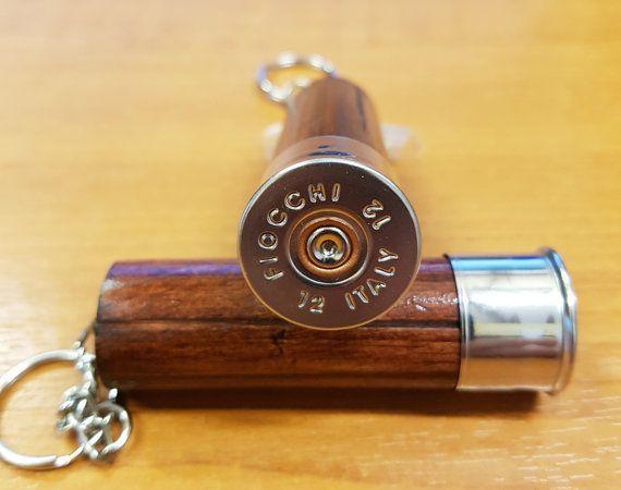 A Beautiful Handmade Wooden Shotgun Cartridge Keyring  The silver coloured…