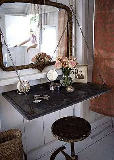 Create a homemade vanity out of vintage finds.