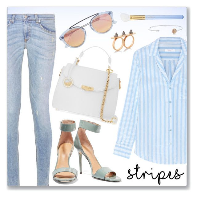 """One Direction: Striped Shirts"" by dressedbyrose ❤ liked on Polyvore featuring Equipment, rag & bone, Halston Heritage, Versace, Ileana Makri, Melissa Joy Manning, Westward Leaning, MAC Cosmetics, chic and stripes"