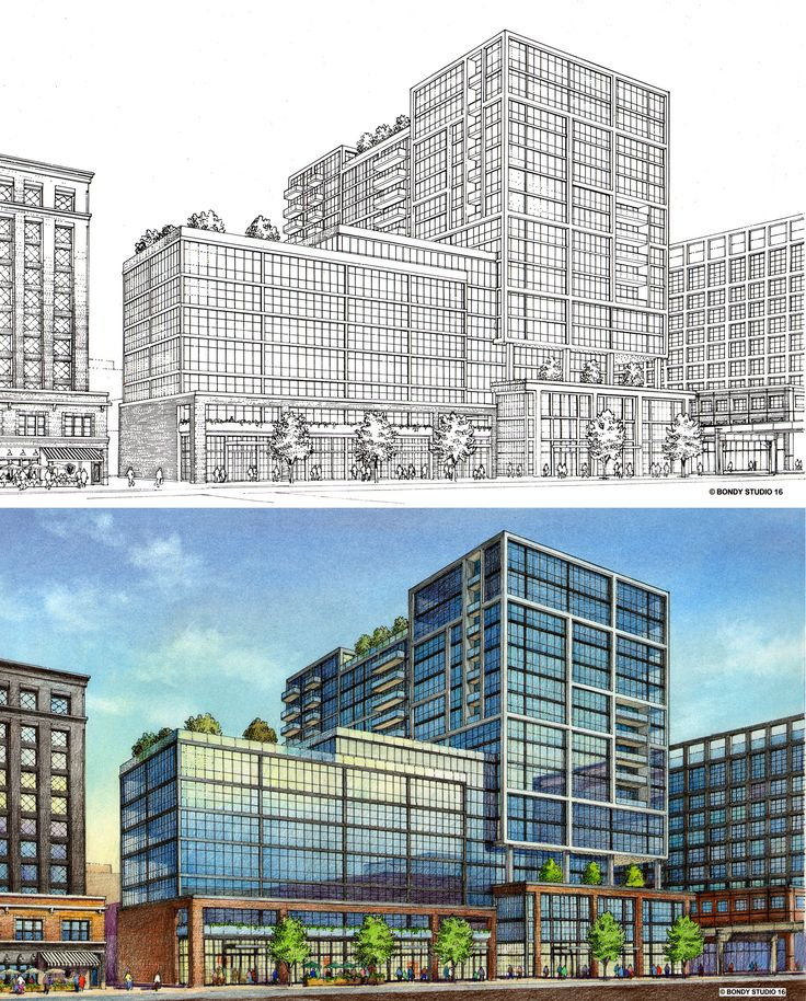 HPA.  2 day charrette. Mixed use project.  Rendering by Bruce Bondy, Bondy Studio. 2016