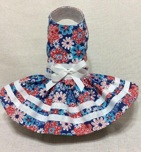 Floral Blue Dog Dress