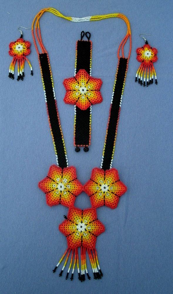 Huichol Hand-beaded Necklace, Bracelet & Earring Set, Orange, Yellow & White