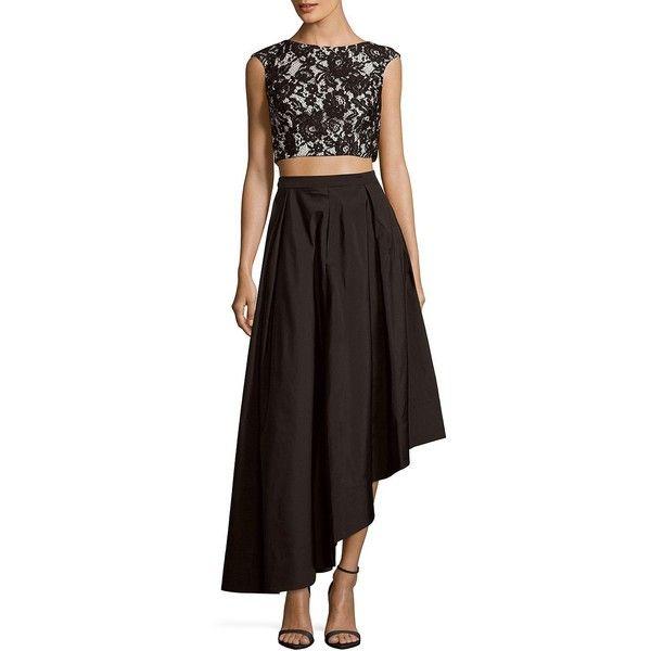 Aidan Aidan Mattox Lace Top & Skirt Set (€130) ❤ liked on Polyvore featuring aidan aidan mattox