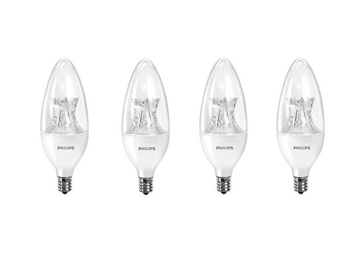 Philips 458687 60W Equivalent Dimmable B12 Decorative Candle LED Light Bulb with Warm Glow Effect (4-Pack)