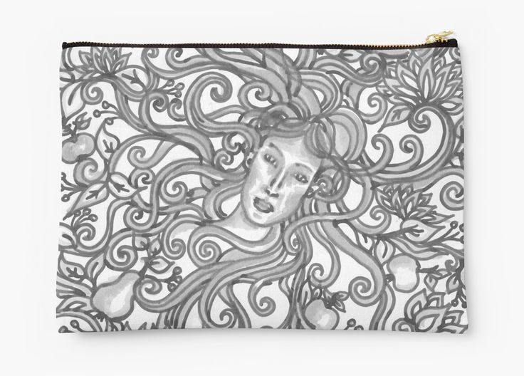 Almaskert large studio pouch  Almáskert= Apple Garden  Silverscreen dreams in the orchard  Traditional drawing, made with black marker and grey brush marker  Studio Pouches apple garden, fantasy, fairy, dreamy, dreamlike, black and white, gray, grey, garden, floral, pear, apple, orchard, fae, flourish, flowers, lotus, nymph, art nouveau, spring, goddess, mother nature, gaia, yavanna, spirals, swirls, ornamental, detailed, magical, whimsical, woodland, shabby chic