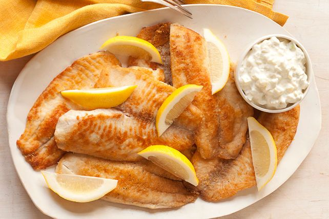 Golden on the outside and tender on the inside, this pan-fried crusted tilapia is served with our version of fresh tartar sauce.
