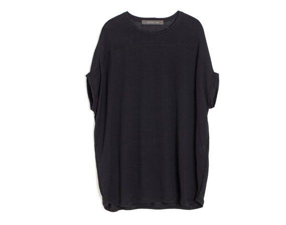 Beige T shirt Women' Tunic Shirt Oversize Top by KERENVEMICHAL