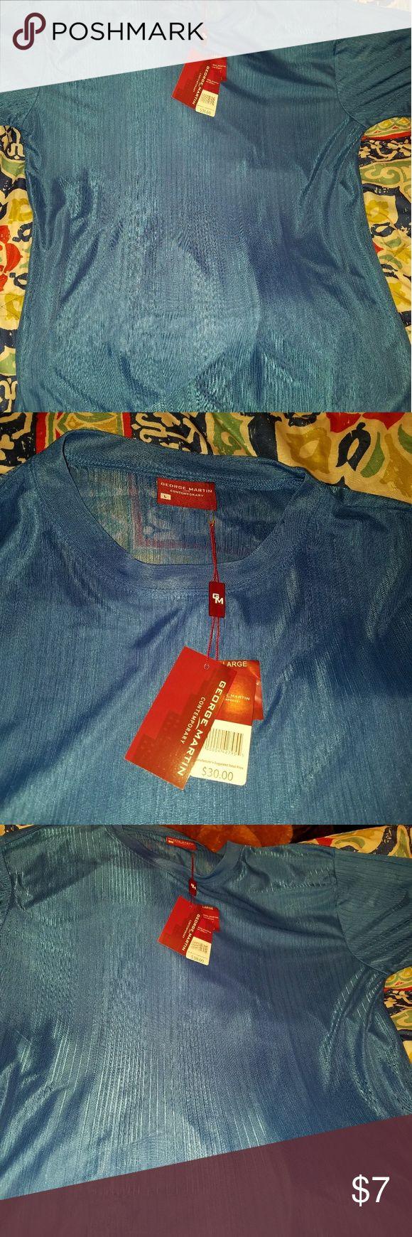 Mens silky shirt New mens Royal blue ribbed silky shirt  By George Martin  Sz L George Martin Shirts Dress Shirts