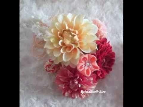 造花と手作りのつまみのお花や下がり、水引の松竹手毬の和装髪飾りです。 http://bridalbell-luck.ocnk.net/
