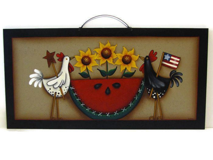 Primitive Chicken, Sunflower, Watermelon Wall Art, Handpainted Wood Sign, Hand Painted Americana Prim Decor, Tole Decorative Painting by ToleTreasures on Etsy