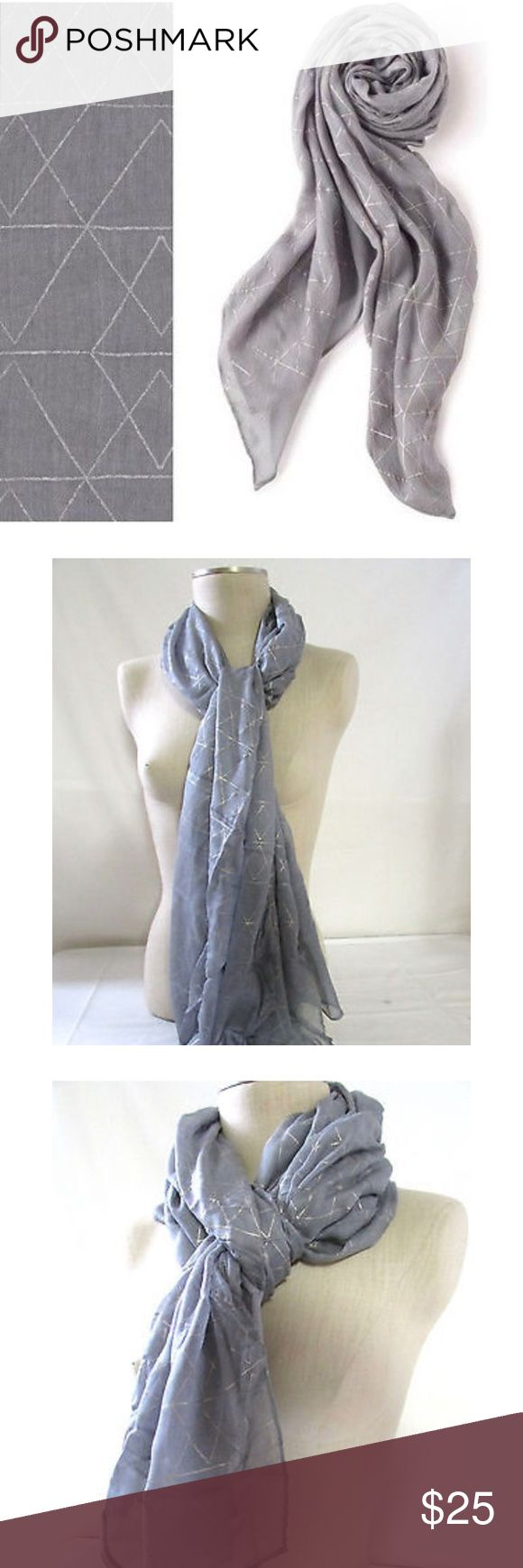 NWOT Stella & Dot DoveGrey Metallic Westwood Scarf A silver scarf or metallic scarf is a great accent that adds a bit of spice (but not too much) to your outfit. Stella & Dot Accessories Scarves & Wraps