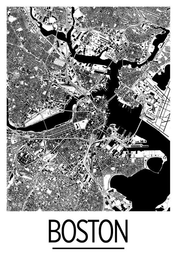 Boston Map Poster Usa Map Print Art Deco Series Products Art