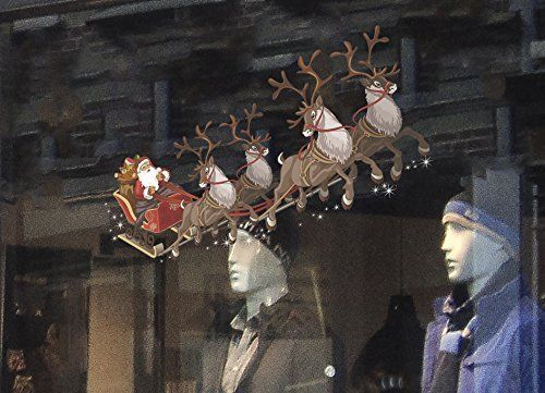 Christmas Window Decorations Single Santa Sleigh and Reindeer Full Colour 625mm