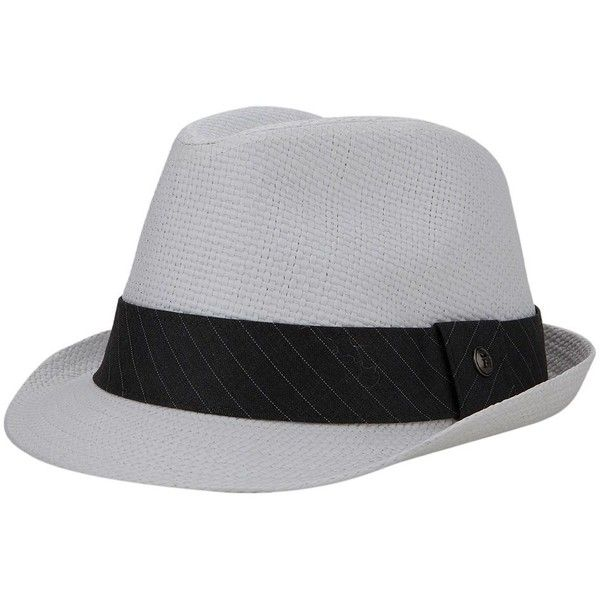 Haggar Wide-Brim Straw Fedora ($32) ❤ liked on Polyvore featuring men's fashion, men's accessories, men's hats, white, mens wide brim fedora hats, mens straw hats, mens fedora hats, mens wide brim straw hat and mens fedora