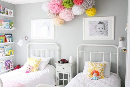 grey pink girls bedroom decor via lilblueboo.comLittle Girls, Shared Room, Girls Bedrooms, Kids Room, Grey Wall, Girls Room, Shared Bedrooms, Pom Pom, Gray Wall