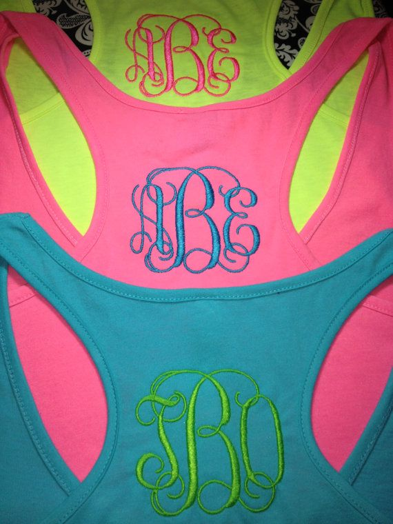 Neon Color Racerback Tank with Vines Monogram - makes you run faster